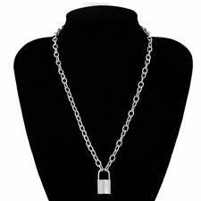 Punk Metal Lock Key Chain Pendant Necklace Gold Silver Men Women Unisex