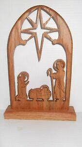 Handcrafted Oak Nativity Scene - Free Shipping