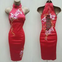 10 UK KAREN MILLEN Red Oriental Chinese Style Embroidered Cocktail Wiggle Dress