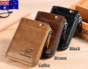 NEW Genuine Leather Mens GIFT Purse Bifold Credit Card Wallet RFID Anti Scan AU