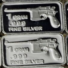 PURE SILVER LOT: Mauser pistol 1 Gram .999 SOLID SILVER  ART BAR  2017 NEW/MINT