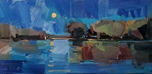 JOSE TRUJILLO Oil Painting IMPRESSIONISM Contemporary Landscape Moon Night nr