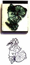 Silly Elephant on Bike rubber stamp by Amazing Arts