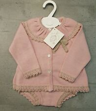 Baby Girls Dandelion Spanish Knitted Top Jam Pants Pink Beige Bow 0-3 months.