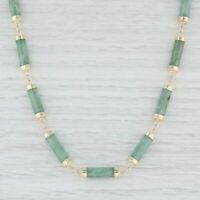 "Green Jadeite Jade Necklace 14k Yellow Gold 19"" Linked Chain"