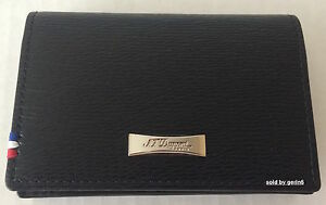 S.T. Dupont  Black Contraste Leather Card Holder Wallet, 180313, New In Box