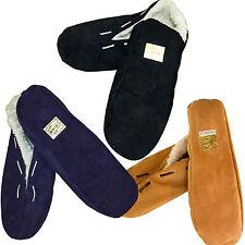 NEU ECHT LEDER Hausschuhe Mokassins Warm Pantoffeln PUSCHEN Antirutsch Gr.35-52
