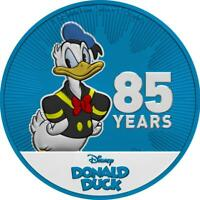 Niue 2019 $2 Donald Duck - 85 Years - Metallic Blue 1 Oz Silbermünze