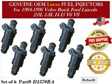 6 Fuel Injectors OEM Lucas for 1987-1991 Ford E-250 Econoline Club Wagon 5.8L V8
