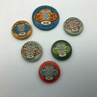 Vtg 1934 Lot Of 6 Union Buttons Pinbacks All Missing There Pins Teamsters  Q6