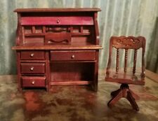 Vintage Dollhouse Roll Top Desk & Chair Furniture All Wood