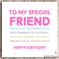 Funny Best Friend Birthday Card Bestie Joke Friends Gift Gin Rude Sarcastic