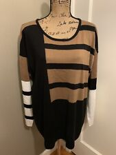 CALVIN KLEIN Women's Colorblock Pullover Sweater Top Size XL X- Large NWT NEW