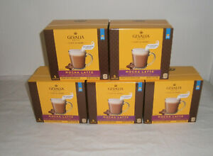 5 Boxes Gevalia Kaffe MOCHA LATTE No Brewer Needed Coffee & Froth Packets