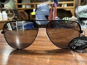 Quay Black Silver High Key Womens Sunglasses Oversized Aviator Authentic
