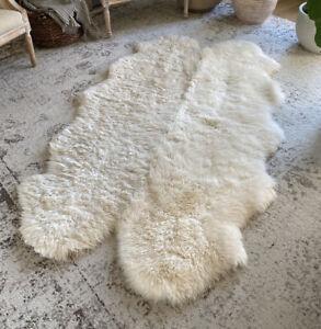 "Large Thick Genuine Windward Ivory Sheepskin Area Rug Collection 71.9"" x 43.3"""