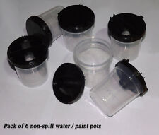 6 x Children's Kids School Non-Spill Water/Paint Pots & Lids Bargain Value Price