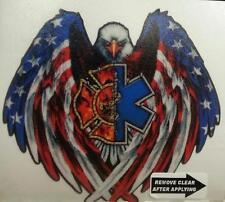 """EMS-Fire Fighter Eagle American Flag DOMED decal EMT, 2"""" wide    #EF08"""