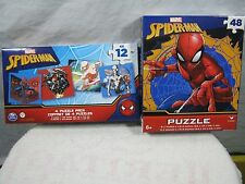 Lot of 2 Spiderman puzzles, 48 Piece 4-Puzzle Pack, Marvel Comics