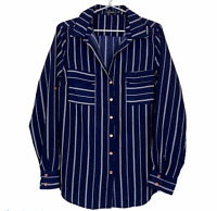Portmans Womens Blue Striped Long Sleeve Button Up Pockets Blouse Shirt Size 14