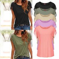 Fashion Womens Summer Loose Short Sleeve Tassel Blouse Casual Tops T Shirts