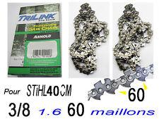 LOT 2 Chaine s pour tronconneuse STIHL 3/8 1.6 60 maillons pr guide coupe 40 c