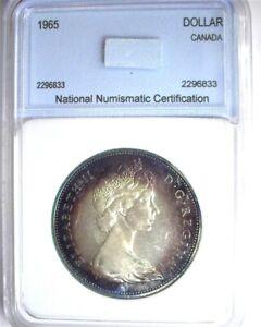 CANADA 1965 SILVER DOLLAR GEM+ UNCIRCULATED BEAUTIFUL PURPLE AND BLUE TONING!!