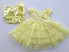 NEW Jona Michelle Baby Girls Dress Size 12M Easter Church Holiday Yellow Lace