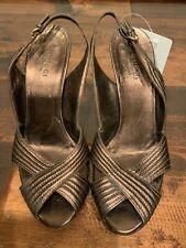 Gucci Bronze Leather Slingback Peep Toe Heels, Size 6.5 (US)
