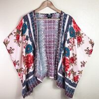 Angie Women's S Small Pink Blue White Yellow Floral Print Bohemian Kimono Top