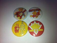 4 Superted button badges 25mm cult retro 80s 90s kids TV UK USA