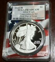 2020 W PCGS PR70 DCAM Silver Eagle Congratulations First Day of Issue Flag Core