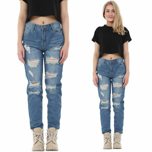 Blue Faded Ripped Jeans Distressed Frayed Boyfriend Jeans Short Leg