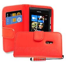 Fundas y carcasas color principal rojo de piel sintética para teléfonos móviles y PDAs Nokia