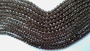 021 Smokey Quartz 4mm faceted beads 40cm line/94 beads