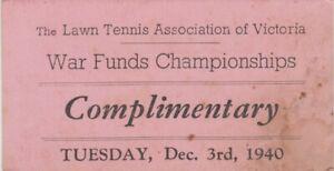 WW2 Lawn Tennis Association of Victoria 1940 war funds championship ticket
