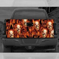 Pile of Skulls Flames Truck Tailgate Wrap Vinyl Full Color Graphic Decal Sticker
