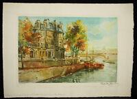Hotel Lambert Und Die Bahnsteige D'Anjou IN Paris Druck Originell c1960 Signier
