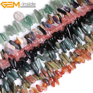 """Natural Gemstones Freeform Stick Point Spike Beads For Jewellery Making 15"""" UK"""