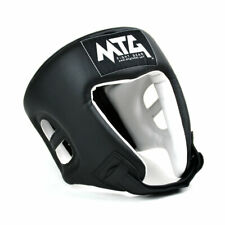 MTG Boxing Headguard Black Open Face Synthetic Leather Competition