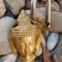 Lord Buddha Spiritual Padlock gift lock and skeleton key Old Antique Bronze Gold