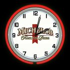 """19"""" Michelob Family of Beers Sign Red Double Neon Clock ManCave Garage Game Room"""