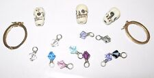 Vintage Jewelry Craft Supplies Crystal Pendants Necklace Beads Skull Head Clasp