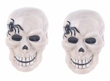Blue Sky Clayworks Halloween Gray Skull Black Spider Salt Pepper Shaker Set NEW