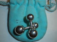 TIFFANY & CO. Vintage BarBell Mens Sterling CUFFLINKS Hard To Find Cuff Links