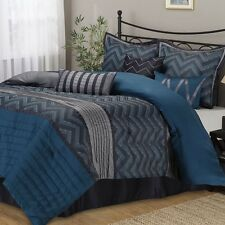 Luxury Comforter Set 7-Piece King Size Bed in a Bag Bedding Bedskirt Blue Grey