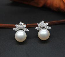 A617 Genuine AAA White Cultured Freshwater Pearl Silver Earrings