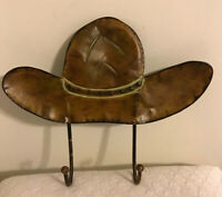 Decorative Wall Mount Hook Hat Shaped~ Brown Metal Cowboy Hat Coat Jewelry Hook