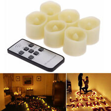 Remote Control LED Battery Candle Tea Lights Flickering Flame With Timer Ivory