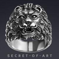 MEN's BIG LION HEAD SILVER 925 RING - REALISTIC HEAVY STUNNING BIKER ROYAL